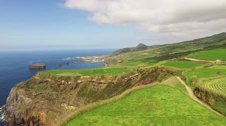 azorean : Green fields of Azores with atlantic ocean on background