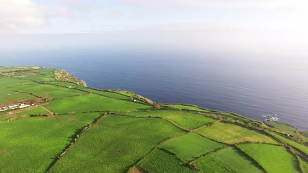 terceira island : Aerial view of farm fields in the Sao Miguel Island in Azores, Portugal wide angle