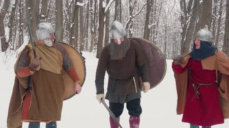 rytíř : Medieval frankish, irish, viking warriors in armor walking in a winter forest with swords shields
