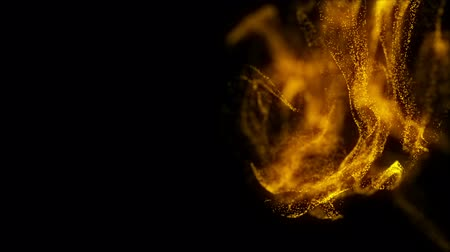hearth : Flickering gold Particles, random motion of particles.On beatiful relaxing Background. Glittering Particles With Bokeh in volumetric light Stock Footage