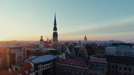 quadro : Old Riga City Town Drone flight Stock Footage