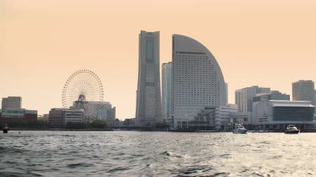 modern buildings in Yokohama bay view from the sea