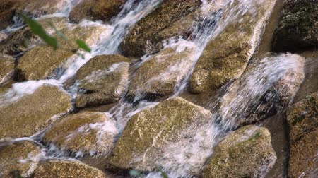 close view of rushing water over rocks