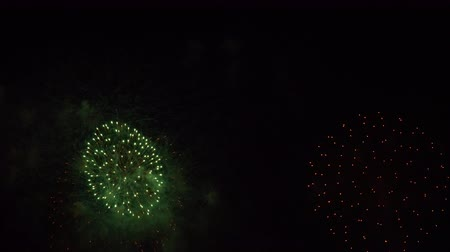 colorful fireworks show in a dark sky Stock Footage