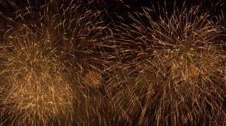 golden fireworks filling the whole sky Stock Footage