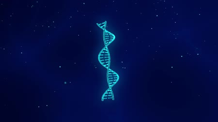 DNA helix strand rotating in a blue background