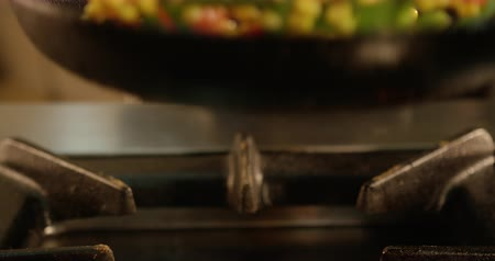 Making styr-fryed vegetables for pasta. Pan closeup