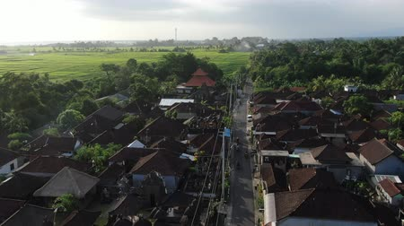 Flight of a drone over a cottage village near rice fields on the ocean in Bali, Indonesia.