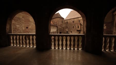 středověký : Shot of medieval castle porch overlooking an inner courtyard.