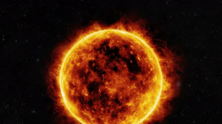iluminado pelo sol : Sun surface with solar flares. 3D animation