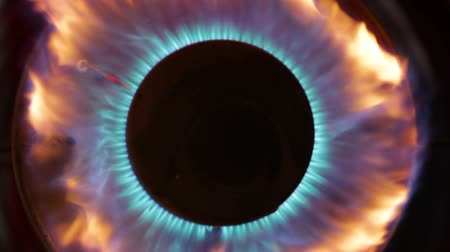 refocus : Close-up of an industrial heater burner, during combustion. no sound
