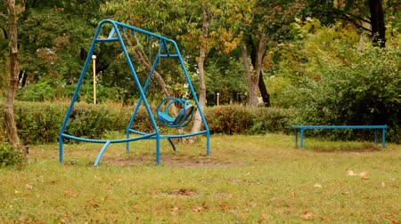 moving empty swing. Childrens blue double swing with chains in the park. one swing moves at an average pace, the second almost without movement. autumn. full hd, no sound.