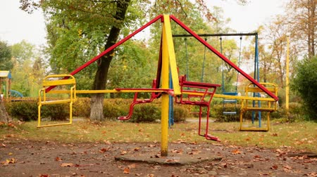 üres : still empty childrens carousel in the playground. autumn. full hd, no sound.