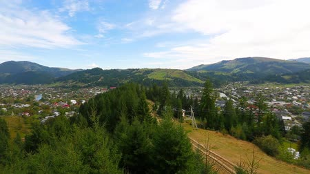 view of the settlement Verkhovyna in the mountains of the Carpathians Ukraine, pan from right to left. Full HD, no sound.