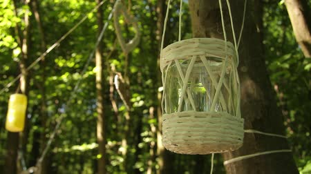 decorated glass jar tied to a tree branch sways from the wind against the background of the forest, wedding decor. full hd, no sound.