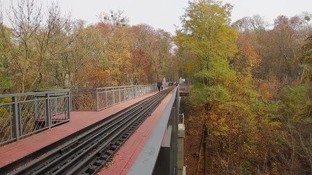 people walk through a narrow-gauge railway bridge over a ravine in the park; camera movement from left to right, Full HD; without sound.