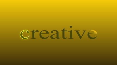 against the golden background, the word creative is animated, the word shines, the capital letter is surrounded by a luminous stroke. Full hd no sound