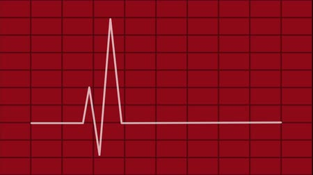 animated white line of the heartbeat, cardiogram, on a red background Full HD