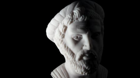 philosopher : White marble bust Pythagoras of Samos  Stock Footage