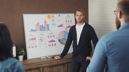 Business people having a meeting using a white board in modern office space Stock mozgókép