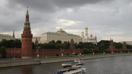 moscow panorama :  Moscow Kremlin, panorama, with clouds  timelapse Stock Footage