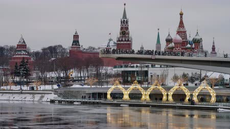 kreml : Moscow Russia City Center View on Moscow Kremlin in winter. Time lapse 4K.