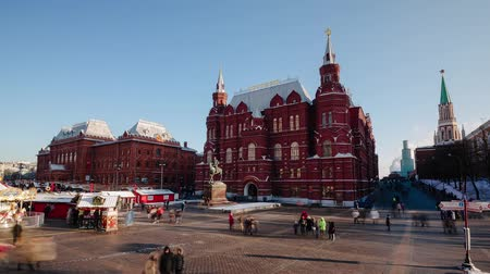 historical building : Historical Museum and Christmas Fair. Moscow. Time-Laps Stock Footage