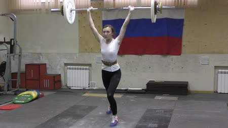 vzpírání : Orenburg, Russia - January 16, 2016: Weightlifting competing girls Dostupné videozáznamy