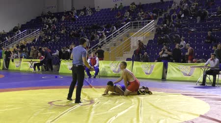 duruş : Orenburg, Russia - January 28, 2016: Boys compete in freestyle wrestling on Championships of Orenburg oblast