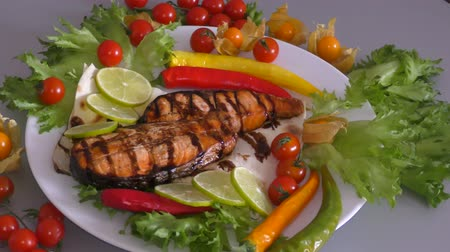pisztráng : Grilled trout with fresh Greens and vegetables