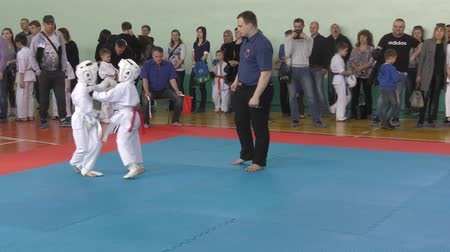 treinamento : Orenburg, Russia-April 7, 2019 year: boys compete in town Tournament Day Samurai