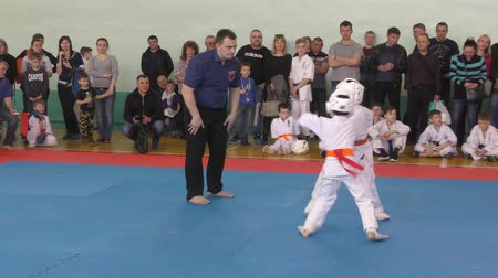 samuraj : Orenburg, Russia-April 7, 2019 year: boys compete in town Tournament Day Samurai