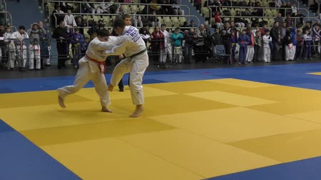 savunma oyuncusu : Orenburg, Russia - 5 February 2016: boys compete in judo at the Championship of the Orenburg region