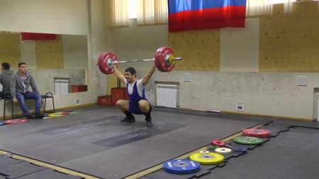 sports nutrition : Orenburg, Russia, December 17, 2017 years: the boys compete in weightlifting for the Cup and Championship weightlifting area Stock Footage
