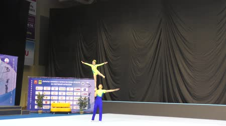 Orenburg, Russia, December 14, 2017 year: Juniors compete in sports acrobatics