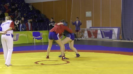 medal : Orenburg, Russia - March 13, 2016: girls competitions Self-defense without weapons at the Open Championship of Orenburg Stock Footage