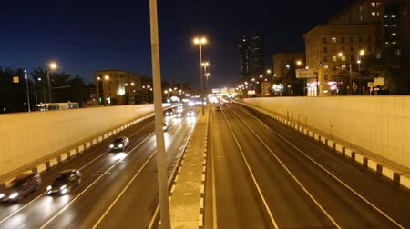 moscow night : Traffic on the highway of big city (at night), Moscow, Russia