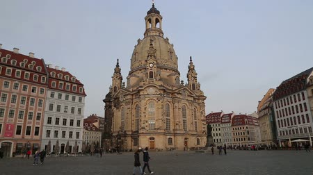 evangelical : Dresden Frauenkirche ( literally Church of Our Lady) is a Lutheran church in Dresden, Germany Stock Footage