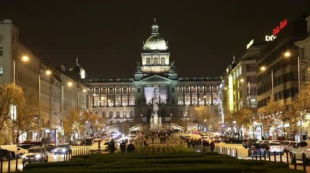 namesti : Night view of Wenceslas Square in the New Town of Prague, Czech Republic