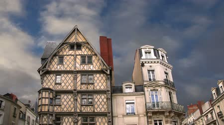 half timbered houses : Front of the House of Adam, old half-timbered house in the city of Angers, France Stock Footage