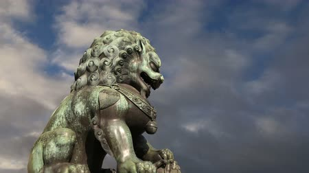 architectural protection : Bronze Guardian Lion Statue in the Forbidden City, Beijing, China