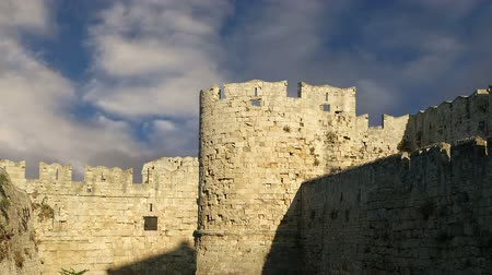 rhodes : Medieval city walls in Rhodes town, Greece  (time lapse)