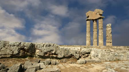 tripping : Apollo Temple at the Acropolis of Rhodes, Greece Stock Footage