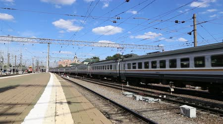 departure : Train on Kazansky railway terminal Kazansky vokzal - is one of nine railway terminals in Moscow, Russia.