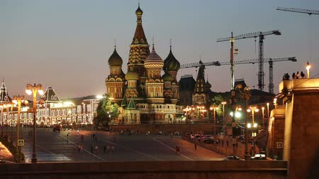 moscow night : Cathedral of Intercession of Most Holy Theotokos on the Moat Temple of Basil the Blessed at night, Red Square, Moscow, Russia Stock Footage