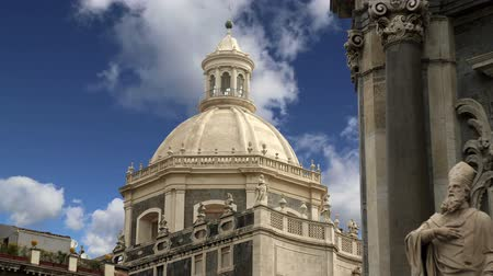 szicília : Catholic church of Catania. Sicily, southern Italy. Baroque architecture. Unesco world heritage site