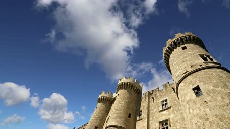 rhodes : Rhodes Island, Greece, a symbol of Rhodes, of the famous Knights Grand Master Palace also known as Castello in the Medieval town of rhodes, a must-visit museum of Rhodes Stock Footage