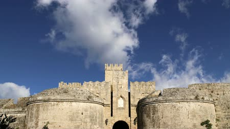 rhodes : Medieval city walls in Rhodes town, Greece time lapse Stock Footage