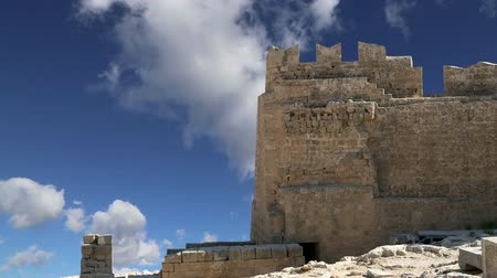 greek culture : Lindos Acropolis on Rhodos Ancient Archeological site, Greece Stock Footage
