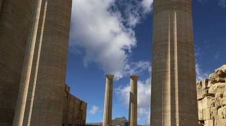 rhodes : Lindos Acropolis on Rhodos Ancient Archeological site, Greece Stock Footage